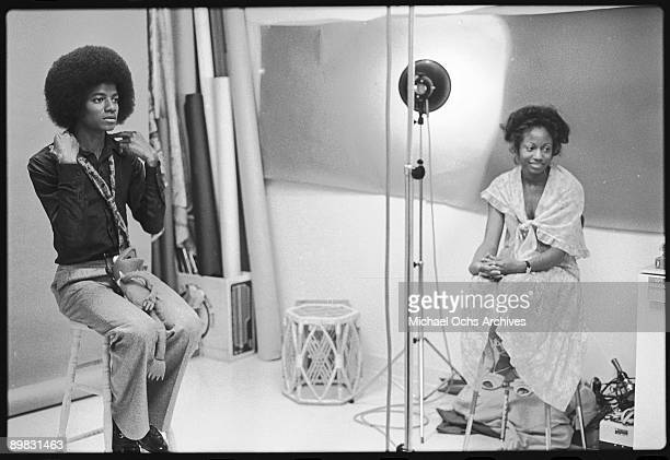 American singer Michael Jackson prepares for a photoshoot with a Kermit the Frog toy Los Angeles 7th July 1978 A photoshoot for 'Right On' magazine