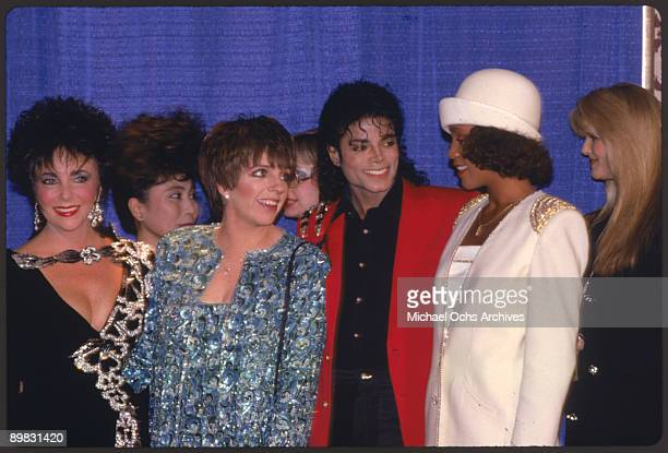 American singer Michael Jackson with Elizabeth Taylor, Liza Minnelli, Yoko Ono, Whitney Houston and Christie Brinkley at the 44th Anniversary of the...