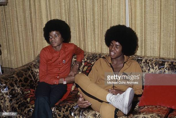 American singer Michael Jackson with his brother Jermaine at their home Los Angeles 28th November 1972 Taken during a photoshoot for 'Right On'...
