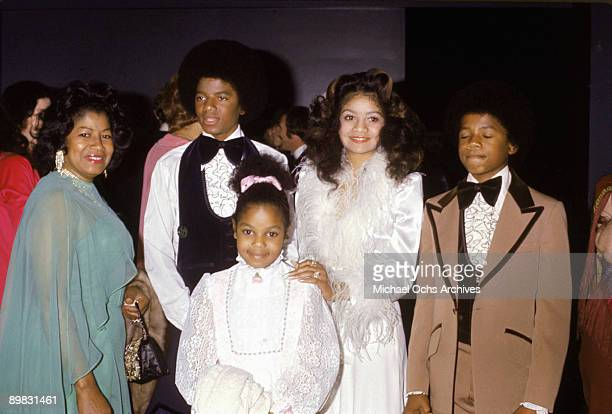 American singer Michael Jackson with his mother Katherine sisters Janet and La Toya and brother Randy at the wedding of older brother Jermaine...