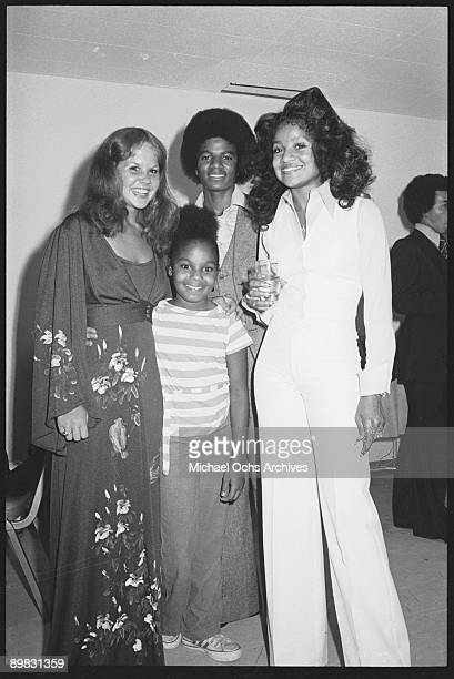 American singer Michael Jackson with his sisters Janet and La Toya and actress Linda Blair circa 1975