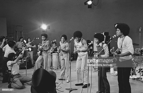 American singer Michael Jackson with the Jackson Five in concert in a television studio circa 1972 From left to right Tito Marlon Jackie Michael and...