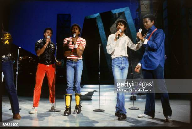 American singer Michael Jackson with The Jacksons during the Victory Tour 1984 From left to right Tito Marlon Michael and Jermaine
