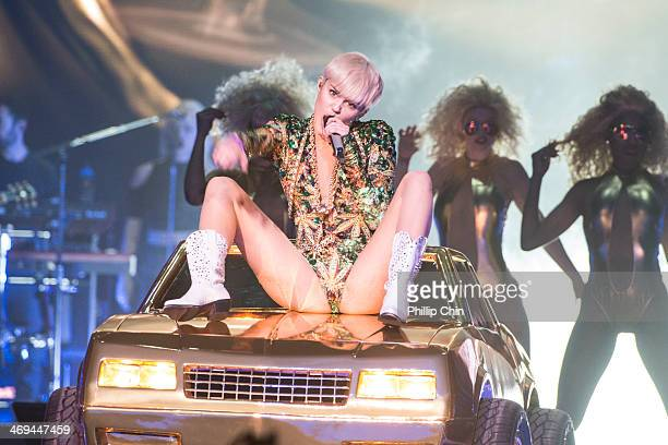 "American singer Miley Cyrus opens her ""Bangerz Tour"" at Pepsi Live at Rogers Arena on February 14, 2014 in Vancouver, Canada."