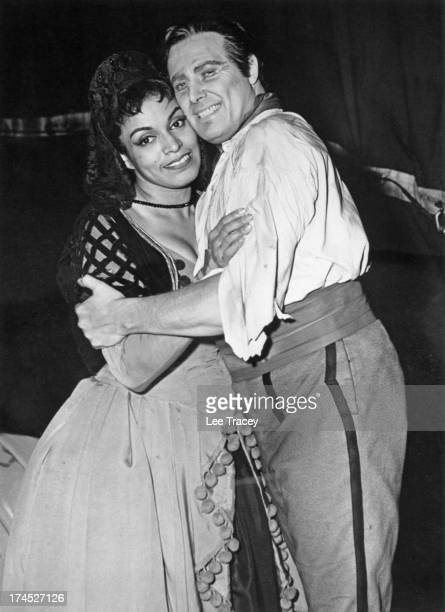 American singer Muriel Smith as 'Carmen' and James Johnston as 'Don Jose' rehearse for the opera 'Carmen' at the Royal Opera House London January 1957