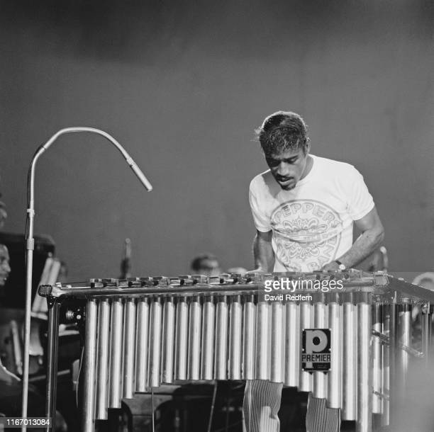 American singer musician dancer actor vaudevillian comedian and activist Sammy Davis Jr wearing a Beatles tshirt plays the vibraphone on stage at The...