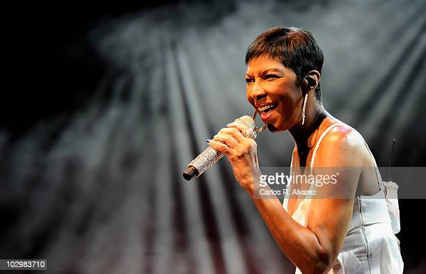 American singer Natalie Cole performs in concert during Veranos de la Villa music festival at Puerta del Angel stage on July 19 2010 in Madrid Spain