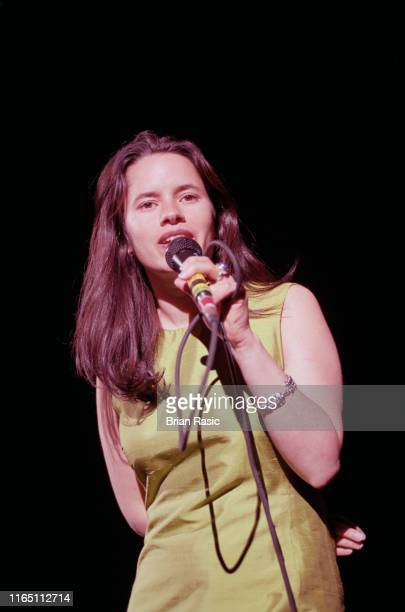 American singer Natalie Merchant performs live on stage at the Shepherd's Bush Empire in London on 13th April 1996