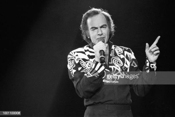 American singer Neil Diamond in concert at the NEC Arena, Birmingham, 8th November 1989.