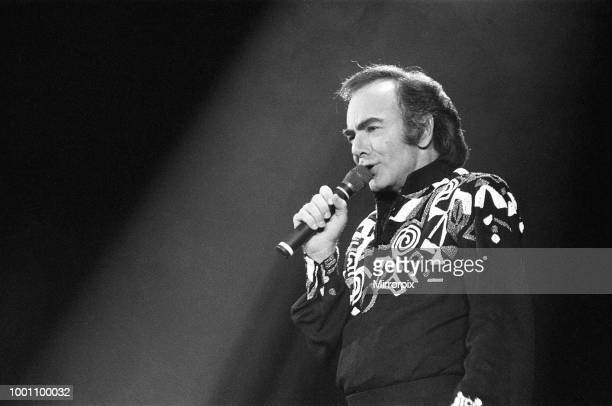American singer Neil Diamond in concert at the NEC Arena, Birmingham, 8th November 1989.