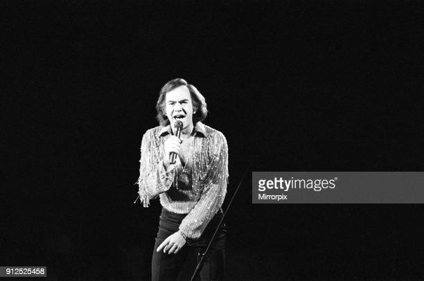 American singer Neil Diamond in concert at the NEC Arena, Birmingham, 2nd July 1984.