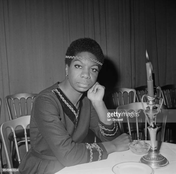 American singer Nina Simone at a reception in her honour at the Hanover Grand in London, 5th December 1968. She is in the UK on a flying visit.