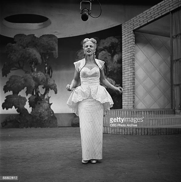 American singer Peggy Lee performs on Ed Sullivan's CBS weekly variety show Toast of the Town New York City New York January 22 1950