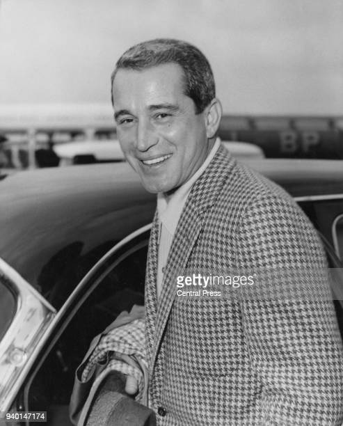 American singer Perry Como arrives at London Airport, 16th April 1960.