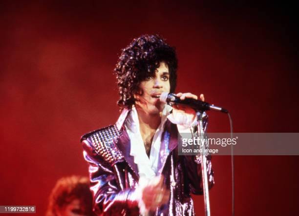American singer Prince performs onstage during the 1984 Purple Rain Tour on November 4 at the Joe Louis Arena in Detroit, Michigan.