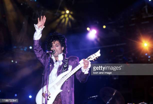 American singer Prince performs onstage during the 1984 Purple Rain Tour on November 4 at the Joe Louis Arena in Detroit Michigan