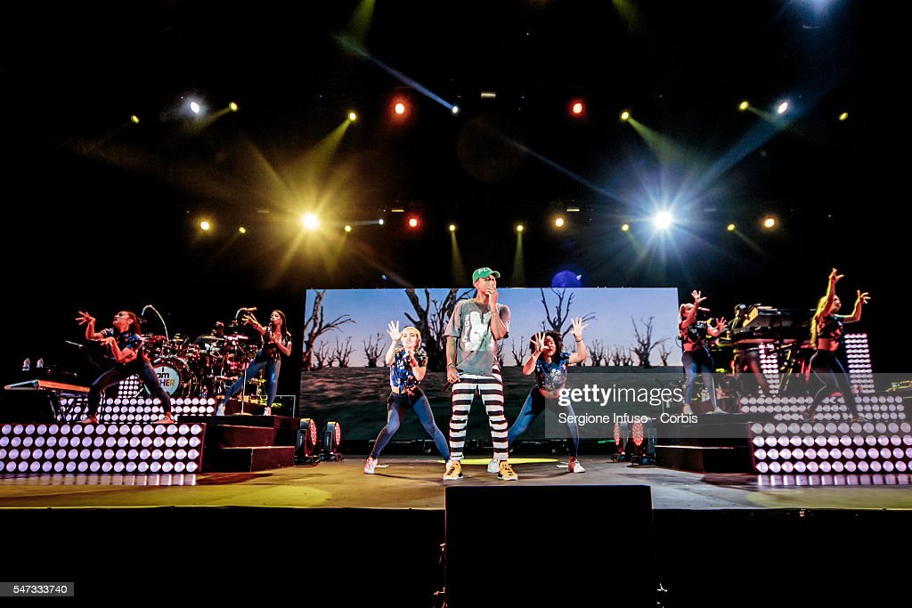 American singer, rapper, and record producer Pharrell Williams performs live at Assago Summer Arena for the Street Music Art Festival on July 12, 2016 in Milan, Italy.