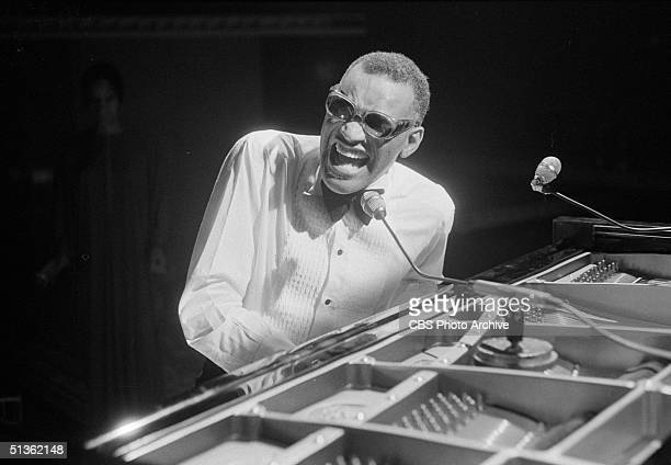 American singer Ray Charles performs in a still from the CBS special 'Barbra Streisand and Other Musical Instruments' London England August 8 1973
