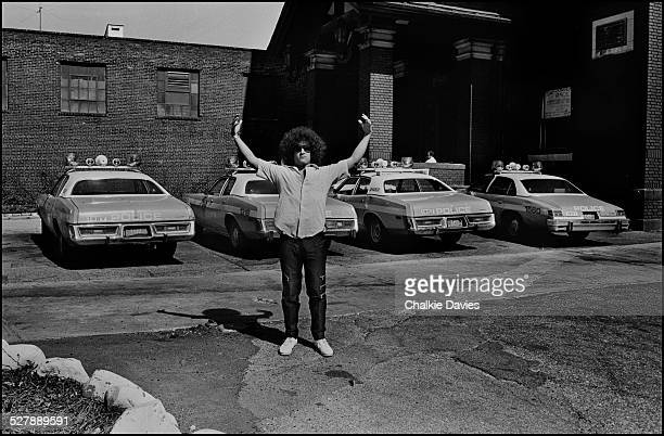 American singer Richard 'Handsome Dick' Manitoba of punk group The Dictators poses near a Police Station in the Bronx area of New York in 1978