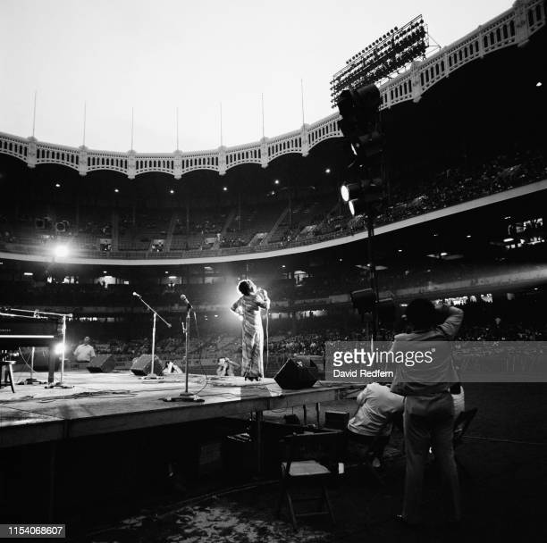 American singer Roberta Flack performs on stage at Yankee Stadium at the Newport Jazz Festival held in New York City US 8th July 1972