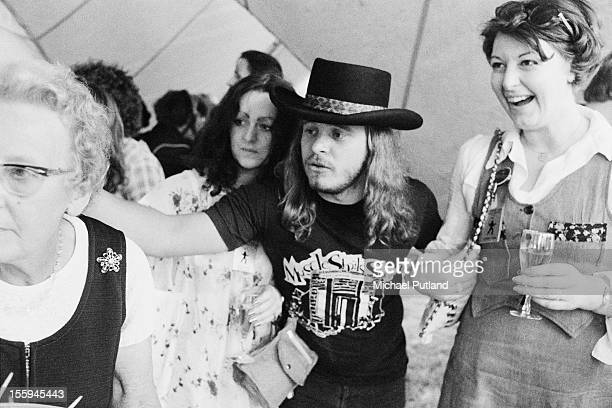 American singer Ronnie Van Zant of Southern rock group Lynyrd Skynyrd at the Knebworth Fair music festival Knebworth House Hertfordshire 21st August...