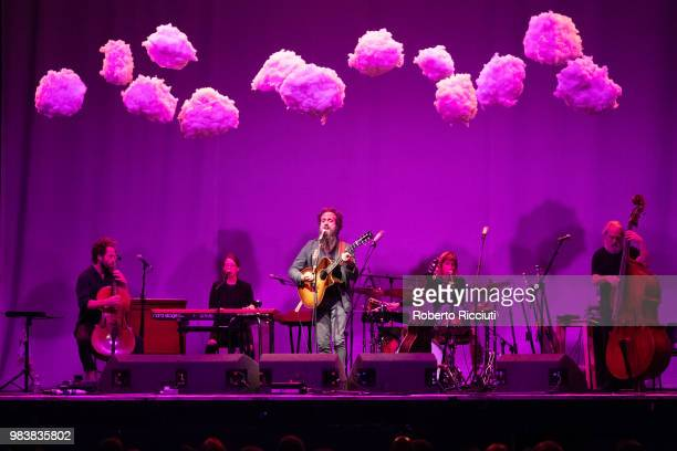 American singer Sam Beam of Iron and Wine performs live on stage at O2 Academy Glasgow on June 25, 2018 in Glasgow, Scotland.