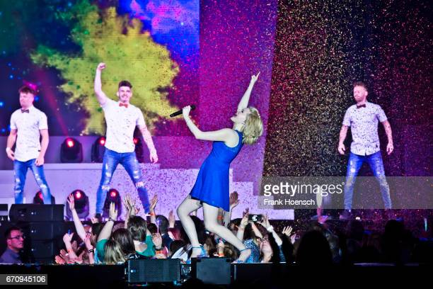 American singer Sarah Jane Scott performs live during the show 'Das grosse Schlagerfest' at the MercedesBenz Arena on April 20 2017 in Berlin Germany