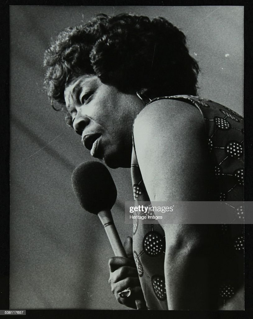 American singer Sarah Vaughan at the Capital Radio Jazz Festival, Knebworth, Hertfordshire, 1981. . : News Photo