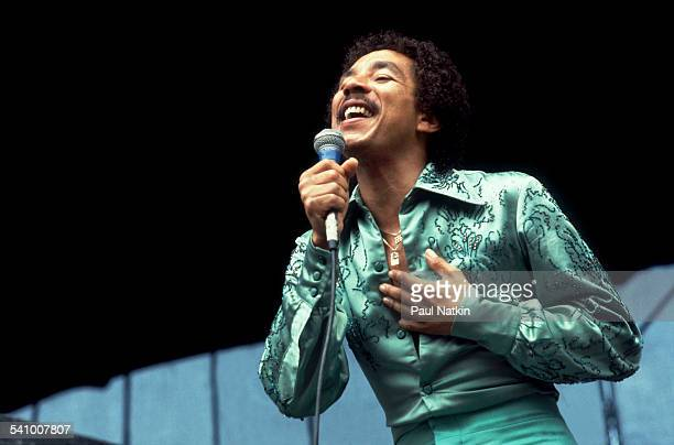 American singer Smokey Robinson performs onstage at Soldier Field Chicago Illinois July 18 1980
