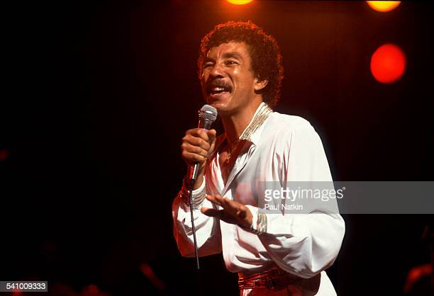 American singer Smokey Robinson performs onstage at the Aire Crown Theater Chicago Illinois September 1 1984