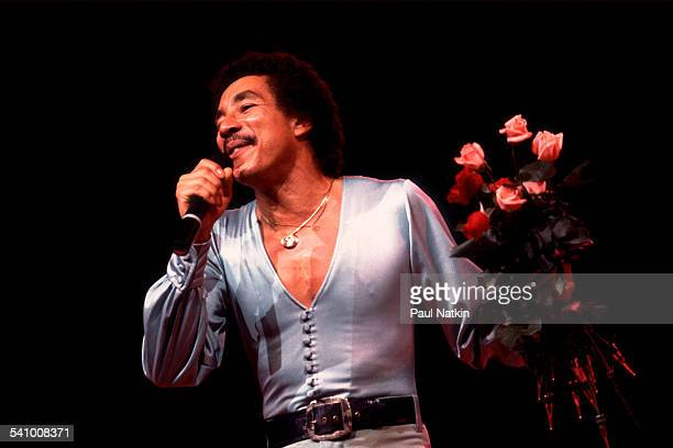 American singer Smokey Robinson performs onstage at the Holiday Star Theater Merrillville Indiana July 28 1982