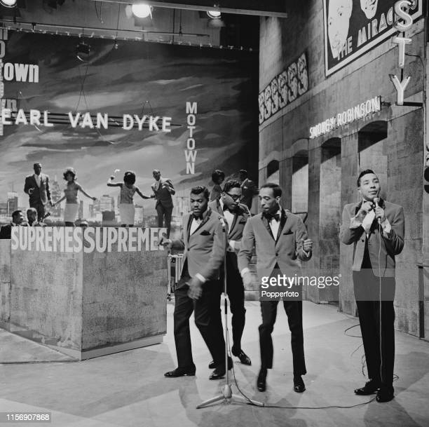 American singer Smokey Robinson performs with The Miracles featuring from left Pete Moore Bobby Rogers and Ronnie White on Associated Rediffusion...