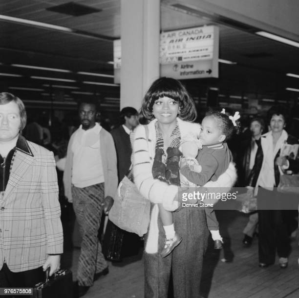 American singer songwriter actress and record producer Diana Ross with her daughter Rhonda Ross Kendrick at Heathrow Airport London UK 3rd September...