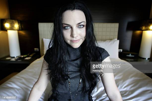 American singer songwriter Amy Lee from the rock band 'Evanescence' poses during a photoshoot at the Four Seasons Hotel ahead of her performance at...