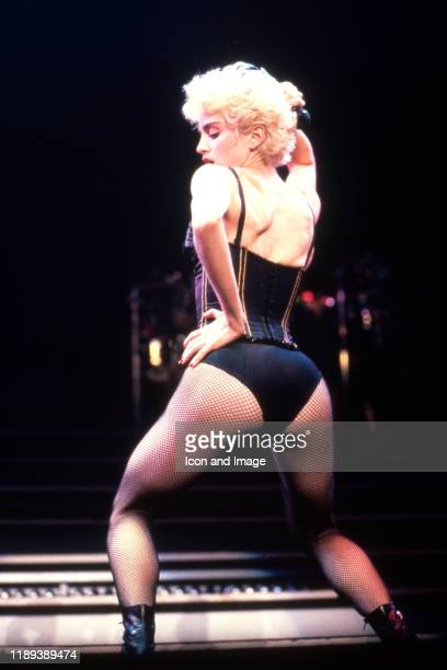 American singer songwriter and actress Madonna on stage during the Who's That Girl tour on August 8 at the Pontiac Silverdome in Pontiac Michigan