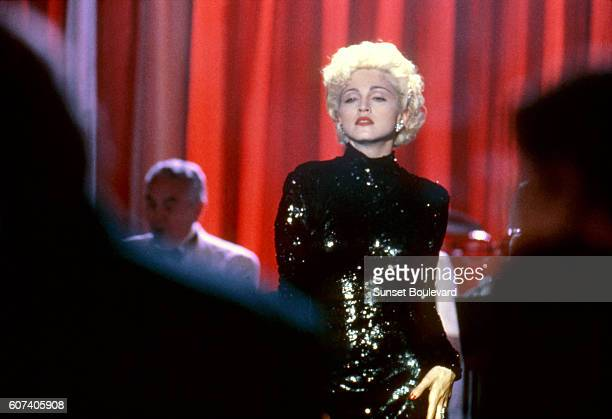 American singer songwriter and actress Madonna on the set of Dick Tracy directed and produced by actor Warren Beatty