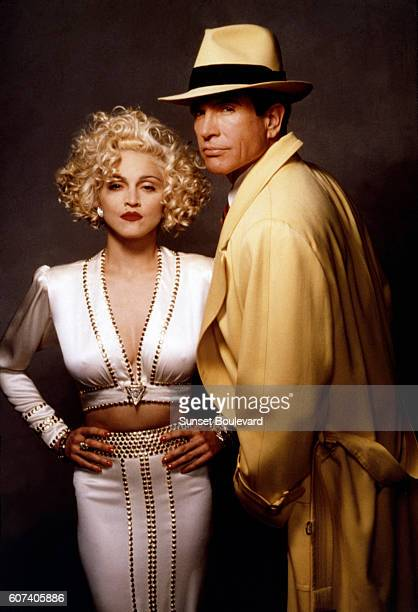American singer songwriter and actress Madonna with actor director and producer Warren Beatty on the set of his movie Dick Tracy