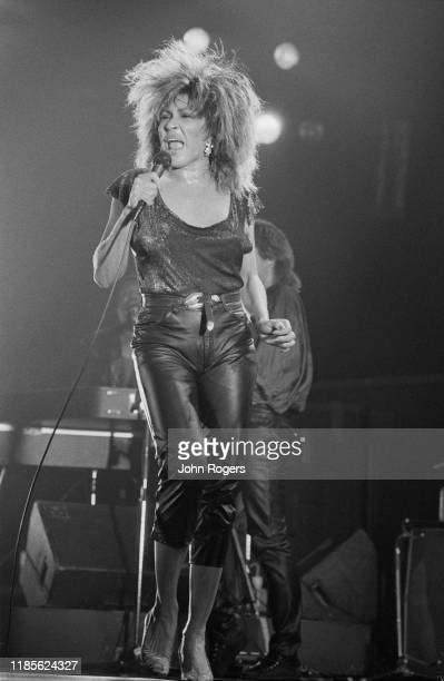 American singer songwriter and actress Tina Turner performs at the Brighton Centre Brighton UK 11th March 1985