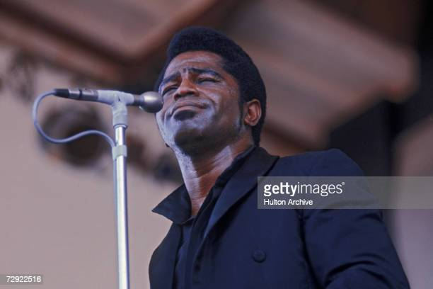 American singer songwriter and bandleader James Brown performing at the Newport Jazz Festival circa 1968