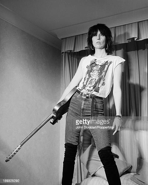 American singer songwriter and guitarist Chrissie Hynde posed in 1990