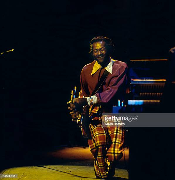 American singer, songwriter and guitarist Chuck Berry performs live on stage at The Rainbow Theatre in Finsbury Park, London on 19th January 1973.