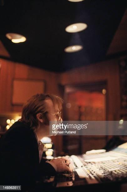American singer songwriter and guitarist Stephen Stills of folk rock group Crosby Stills Nash in a recording studio April 1979