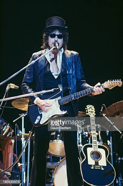 American singer, songwriter and musician Bob Dylan performs live on stage with his band during the 'Picnic' festival at Blackbushe Aerodrome in...