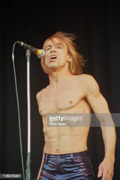 American singer, songwriter and musician Iggy Pop performs live on stage during a support show for punk group Sex Pistols at Finsbury Park in London...