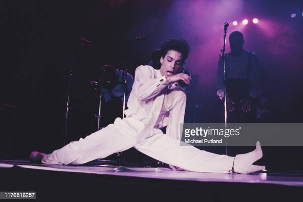 American singer, songwriter and musician Prince performs on stage on the Hit N Run-Parade Tour, Wembley Arena, London, August 1986.