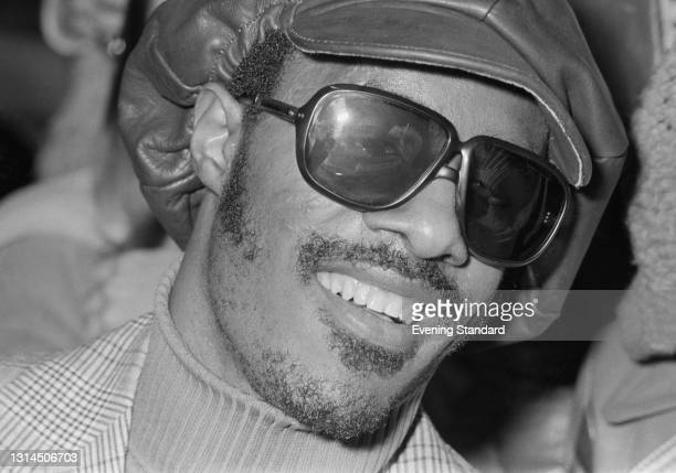 American singer, songwriter and musician Stevie Wonder in the UK, 25th January 1974.