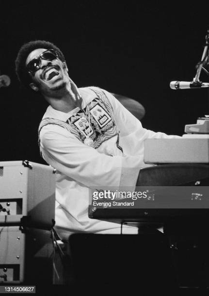 American singer, songwriter and musician Stevie Wonder performs at the Rainbow Theatre in Finsbury Park, London, UK, 24th January 1974.