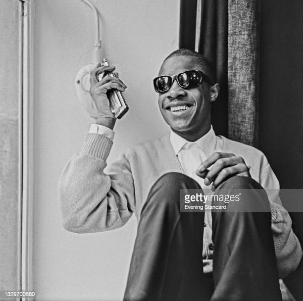 American singer, songwriter and musician Stevie Wonder whilst in London for a Tamla Motown revue tour, UK, 20th March 1965.