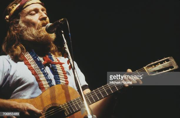 American singer songwriter and musician Willie Nelson performs live on stage in New York in April 1978