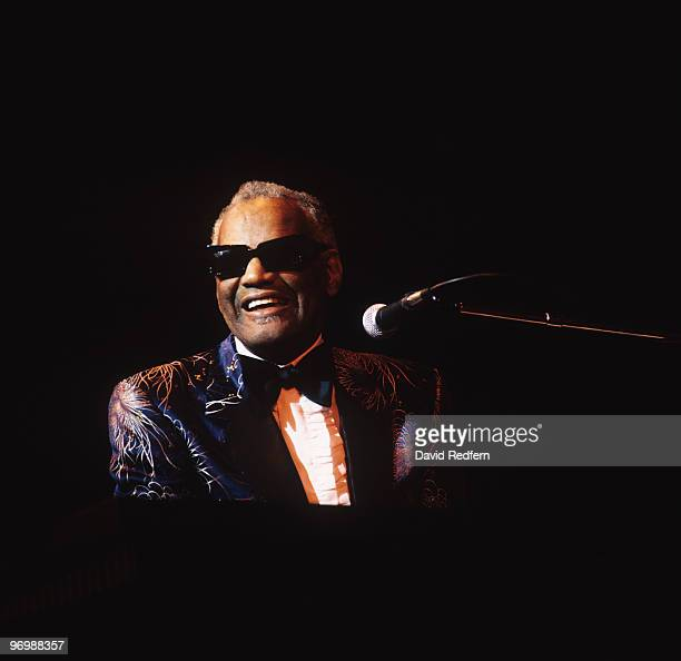 American singer, songwriter and pianist Ray Charles performs live on stage in 1989.
